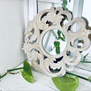 Vintage Itart's Round Mirror Leaf Design Crackle